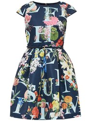 Ted Baker Lusara A Z Ditzy Skater Dress Navy