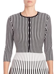 Tomas Maier Striped Cropped Cardigan Black Chalk