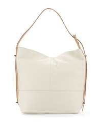 Kelsi Dagger Leather 50 Kent Two Tone Hobo Bag White Linen