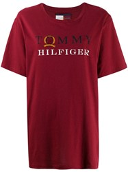 Tommy Hilfiger Logo Print T Shirt Red