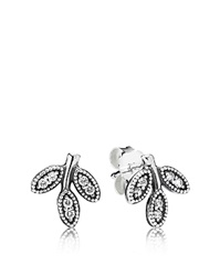 Pandora Design Pandora Stud Earrings Sterling Silver And Cubic Zirconia Sparkling Leaves