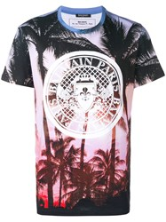 Balmain Palm Tree Logo T Shirt Purple