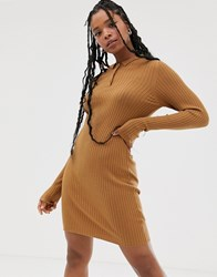 Noisy May Knitted Mini Dress In Tobacco Brown