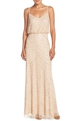 Adrianna Papell Women's Embellished Blouson Gown Champagne Gold