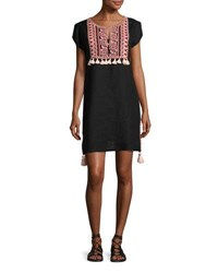 Seafolly Embroidered Coverup Linen Dress W Tassels Black