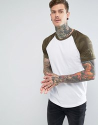 Pull And Bear Raglan T Shirt With Camo Sleeves In White White