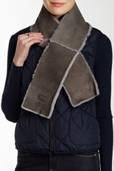 Australia Luxe Collective Cravat Genuine Shearling Trim Scarf Gray