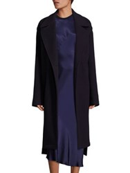 Dkny One Button Front Wool Blend Overcoat Classic Navy