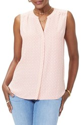Nydj Petite Women's Pleat Back Sleeveless Split Neck Blouse Beach Dunes Begonia
