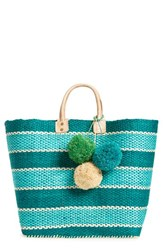 Mar Y Sol 'Capri' Woven Tote With Pom Charms Blue Aqua