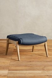 Anthropologie Linen Roadway Ottoman Navy