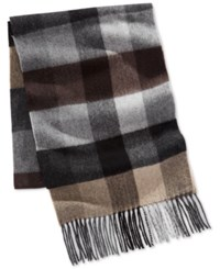 Club Room Men's Buff Plaid Cashmere Scarf Only At Macy's Grey Tan