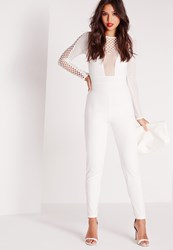 Missguided Fishnet Mesh Insert Jumpsuit White White