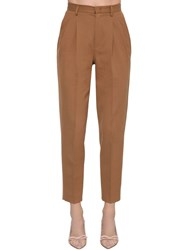 Red Valentino Cotton And Wool Gabardine Straight Pants Camel
