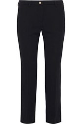 Versace Collection Woman Cropped Crepe Slim Leg Pants Black