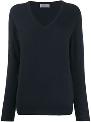 Brunello Cucinelli V Neck Knit Top Blue