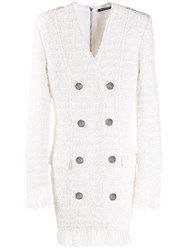 Balmain Feather Trimmed Tweed Blazer Dress 60
