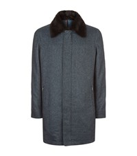 Zilli Mink Collar Herringbone Coat Male