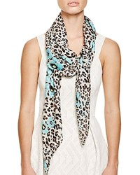 Helene Berman Floral Animal Silk Scarf Aqua