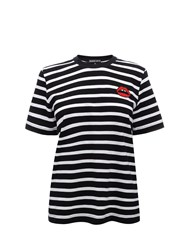Markus Lupfer Black And White Stripe Red Lara Lip Alex Tee