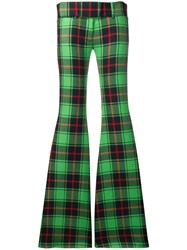 Marco De Vincenzo Checked Flared Trousers Green