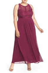 City Chic Plus Size Women's Paneled Lace Bodice Gown Mulberry