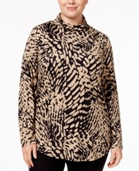 Jm Collection Plus Size Printed Turtleneck Top Only At Macy's Neutral Jungle Beat