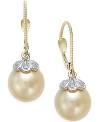Macy's Cultured Golden South Sea Pearl 10Mm And Diamond Accent Earrings In 14K Gold