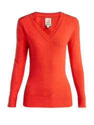 Joostricot V Neck Cotton Blend Sweater Red