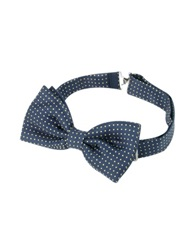 Forzieri Small Polkadot Pre Tied Silk Bowtie Navy Blue Yellow