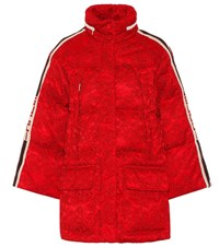 Gucci Lace Trimmed Down Jacket Red