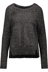 Belstaff Cass Ribbed Knit Cotton Blend Sweater Charcoal