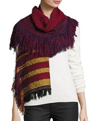 Neiman Marcus Striped Fringe Knit Scarf Red Multi