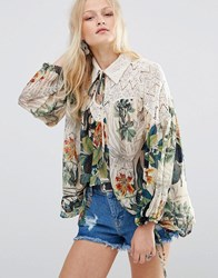 Hazel Lace Panel Printed Blouse Natural Multi