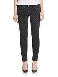 Current Elliott The Stiletto Polka Dot Jeans Black