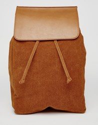 Asos Backpack In Faux Suede With Flap Tan