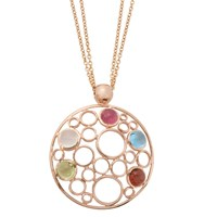 London Road 9Ct Rose Gold Circular Pendant Necklace Rose Gold Multi