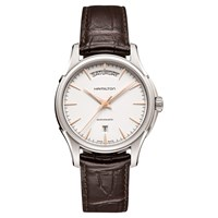 Hamilton H32505511 Men's Jazzmaster Automatic Day Date Leather Strap Watch Dark Brown White