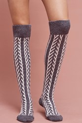 Anthropologie Arrow Over The Knee Socks Dark Grey