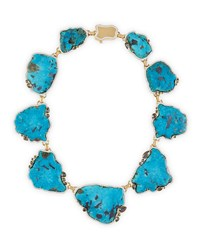 18K Gold Turquoise Necklace With Diamonds Pamela Huizenga Gold Turquoise Blue