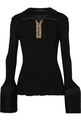 Ellery Arcade Tulip Faux Leather Trimmed Cotton Poplin And Ribbed Knit Top Black