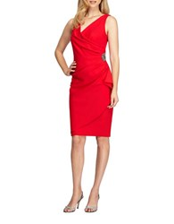 Alex Evenings Petite Ruffle Sheath Dress Red