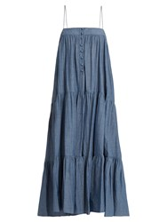 Apiece Apart Tangiers Sleeveless Cotton Chambray Dress Denim
