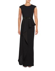 Betsy And Adam Ruffled Cap Sleeve Gown Black