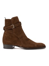 Saint Laurent 'Wyatt' Jodhpur Ankle Boots Brown
