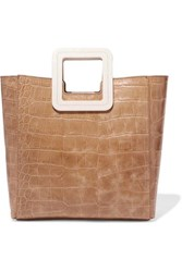 Staud Shirley Two Tone Croc Effect Leather Tote Beige