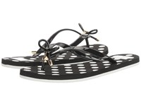 Kate Spade Nova Black Shiny Rubber Polka Dot Print Women's Sandals