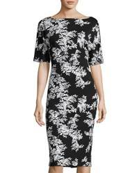 Vince Camuto Floral Print Short Sleeve Sheath Dress Black White