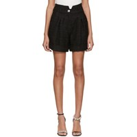 Balmain Black Tweed Pleated Shorts