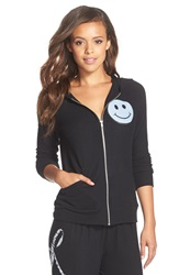 Lauren Moshi 'Wit' Love Graphic Hoodie Jet Black Happy Love